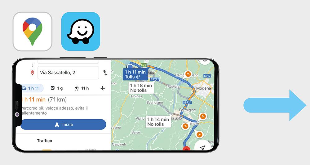 Phonocar VM046 PhoneLINK app di navigazione